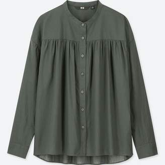 Uniqlo WOMEN Soft Cotton Stand Collar Long Sleeve Blouse