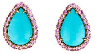 Paolo Costagli 18K Turquoise & Sapphire Earclips