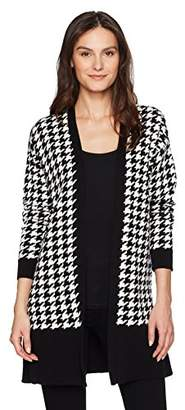 Chaus Women's Long Sleeve Houndstooth Cardigan