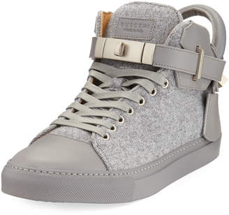 Buscemi Men's 100mm Wool Mid-Top Sneakers, Medium Gray