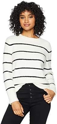 Cable Stitch Women's Fuzzy Stripe Sweater Top