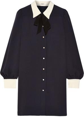 Miu Miu - Sable Georgette Shirt Dress - Midnight blue
