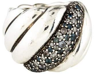 David Yurman Topaz & Diamond Sculpted Cable Ring