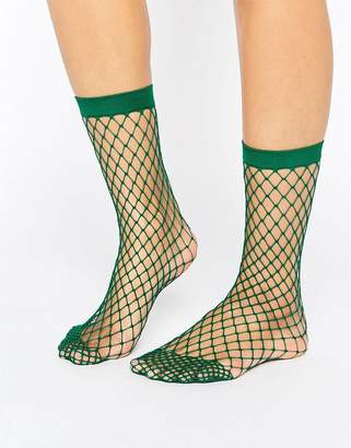 Asos Design Oversized Fishnet Ankle Socks In Green