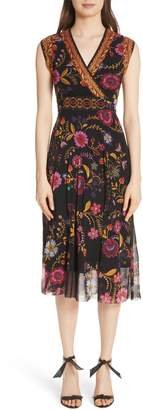 Fuzzi Reversible Folk Floral Print Tulle Dress