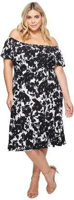 Athena KARI LYN Plus Size Off the Shoulder Floral Dress Women's Dress