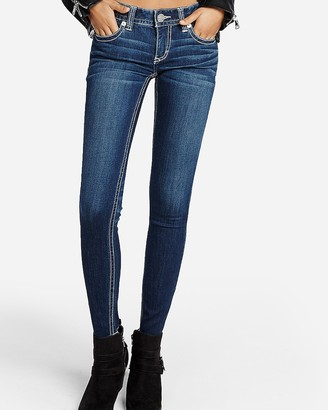 Express Low Rise Contrast Thick Stitch Stretch Jean Leggings