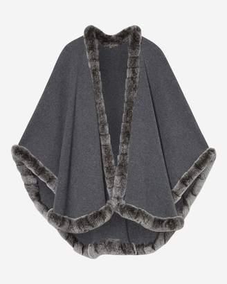 N.Peal Cape with Fur Trim Edge