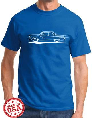 Redline Maddmax Car Art 1955 1956 Ford Fairlane Hardtop Series Classic Outline Design Tshirt 2XL