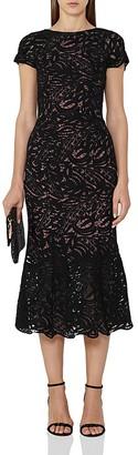 REISS Erin Lace Midi Dress $465 thestylecure.com