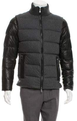 Michael Kors Leather-Trimmed Puffer Jacket
