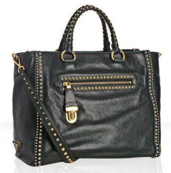 Prada forest calfskin studded medium tote