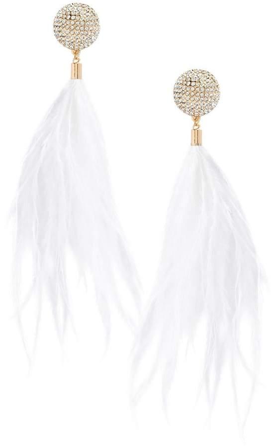 Forever 21 Rhinestone Feather Duster Earrings