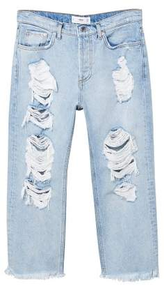 MANGO Decorative rips relaxed jeans