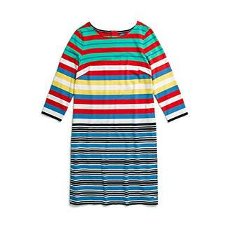 Tommy Hilfiger Women's Striped Dress with Magnetic Closure at Back, Bright White/Multi L