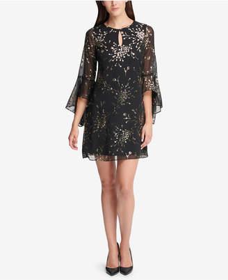 Kensie Metallic-Print Bell-Sleeve Dress