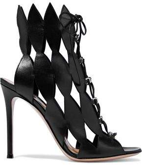 Gianvito Rossi Lace-Up Cutout Leather Sandals