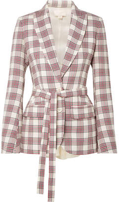 Antonio Berardi Organza-paneled Checked Wool Blazer - Cream