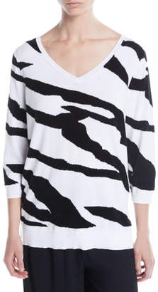 Joan Vass 3/4-Sleeve Zebra Pullover Sweater, Plus Size
