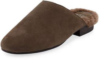 Eileen Fisher Gwen 3 Fur-Lined Nubuck Mules