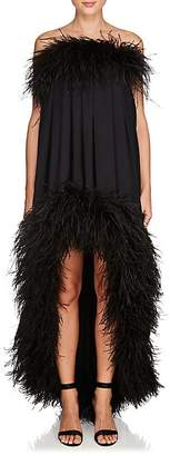Saint Laurent Women's Ostrich Feather Matte Satin Dress