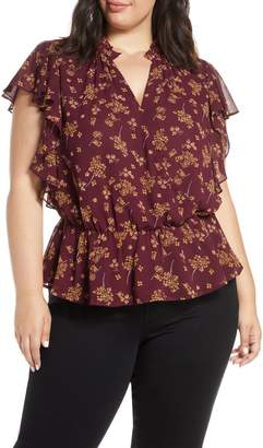 1 STATE 1.STATE Floral Print Faux Wrap Top