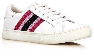 Marc Jacobs Women's Empire Strass Round Toe Leather Low Top Sneakers