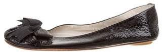 Maloles Patent Leather Bow-Accented Flats