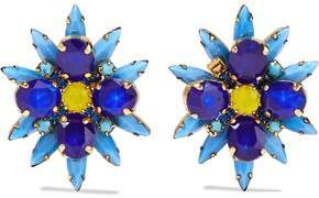 Elizabeth Cole Crystal Stone And Gold-Tone Clip Earrings