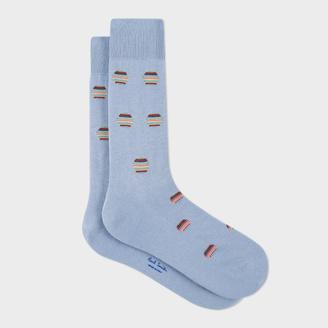 Men's Light Sky Blue Polka Dot Stripe Socks $30 thestylecure.com