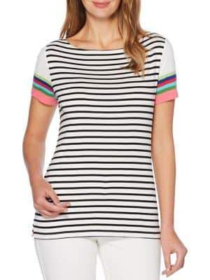 Rafaella Striped Cotton Tee