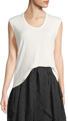 Halston Sleeveless Round-Neck Easy T-Shirt