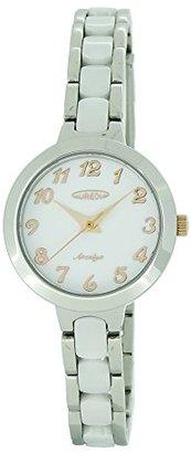 Aureole [オレオール 3針 日常生活防水 ステンレスケース セラミックバンド(一部ステンレス) クリスタルガラス プッシュバックル レディス(女性向け) 腕時計 SW-599L-03