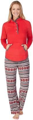 Cuddl Duds Women's Winter Kangaroo Henley Top & Pants Pajama Set