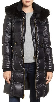 Women's Via Spiga Quilted Coat With Faux Fur Trim $258 thestylecure.com