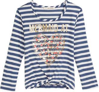 Self Esteem Mermaid At Heart Striped Knot-Front T-Shirt, Big Girls