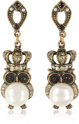 Alcozer & J Crowned Owl Earrings w/Pearls