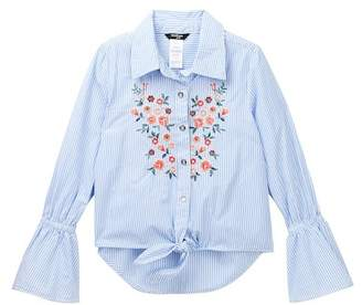 Bebe Woven Stripe Top with Embroidery (Big Girls)