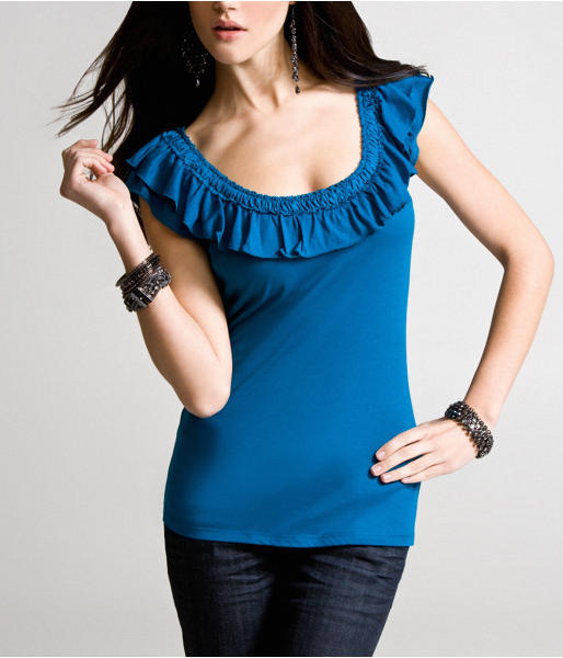 Dreamweight Satin Ruffle-Neck Top