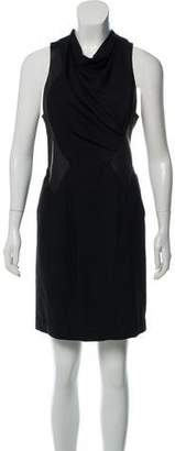Helmut Lang Leather-Accented Wool Dress