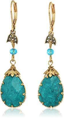 lonna & lilly Womens Gold Tone Pear Dbl Drop Earrings