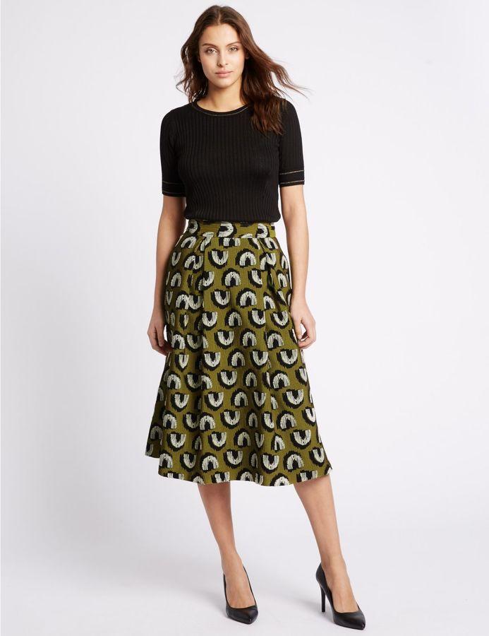 Below The Knee Length A-line Skirt - ShopStyle Australia