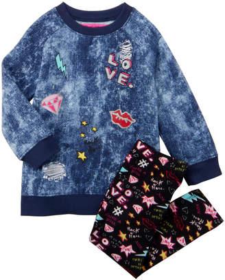 Betsey Johnson Toddler Girls) Two-Piece Emoji Denim Print Pullover & Leggings Set