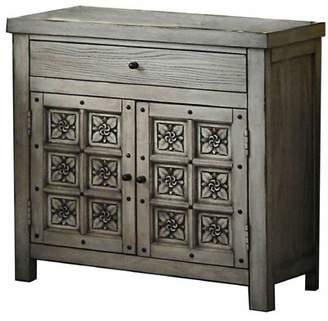 Ophelia & Co. 1 Drawer Transitional Wooden Nightstand With Floral Engraving, Gray & Co.