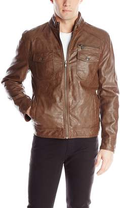 Kenneth Cole New York Kenneth Cole REACTION Men's Faux-Leather Moto Jacket