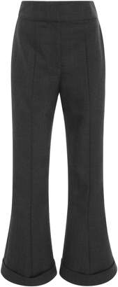 Jacquemus Flared Folded Cuff Cropped Wool-Blend Pant