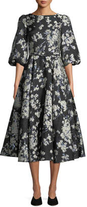 Co Bubble-Sleeve Fit-and-Flare Metallic Brocade Cocktail Dress