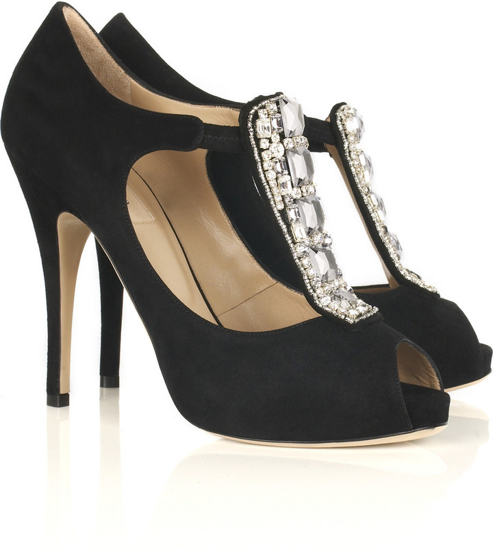 Valentino Diamanté-embellished peep-toe pumps