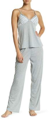 Catherine Malandrino Embroidered Lace Trim Pajama Set