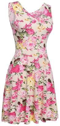 SimpleFun Summer Floral Printed Dresses Sleeveless Slim Fit Tank Sun Dress